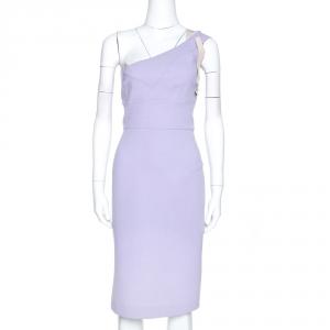 Roland Mouret Lavender Wool Crepe One Shoulder Dress L - used