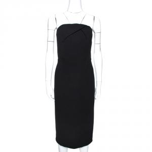 Roland Mouret Black Wool Crepe Strapless Sheath Dress L used