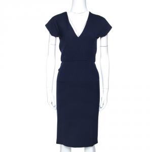 Roland Mouret Navy Blue Wool Crepe Sheath Dress L - used