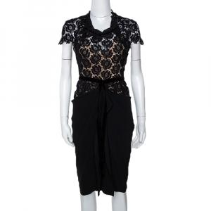 Roland Mouret Black Crepe & Lace Draped Harmon Dress M - used