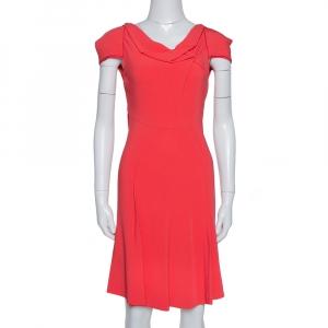 Roland Mouret Red Crepe Cowl Neck Knee Length Dress S - used