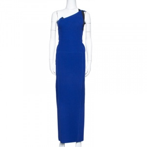 Roland Mouret Blue Wool One Shoulder Gown S used