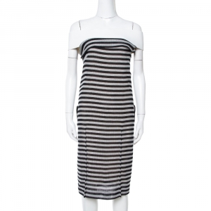 Roland Mouret Monochrome Striped Cotton Basketweave Layan Dress M