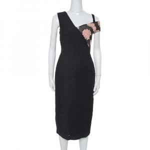 Roland Mouret Black Cotton Daisy Appliqued Off Shoulder Camley Dress M - used