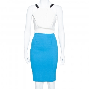 Roland Mouret Limited Edition Blue & White Crepe Sleeveless Sheath Dress M - used