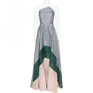 Roland Mouret Silver Crushed Organza Silk Panelled Strapless Lucia Gown M used