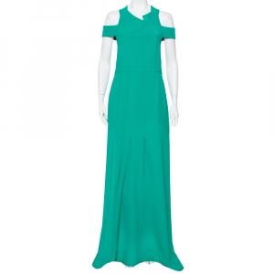 Roland Mouret Green Crepe Cut-Out Detail Cold Shoulder Long Dress XL - used