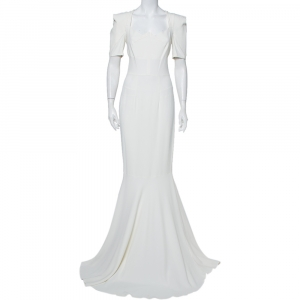 Roland Mouret White Crepe Paneled Detail Fitted Jansen Gown L - used