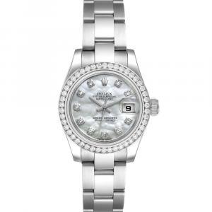 Rolex MOP Diamonds 18K White Gold Datejust 179384 Women's Wristwatch 26 MM