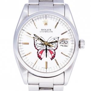 Rolex White Stainless Steel DateJust Women's Wristwatch 36MM