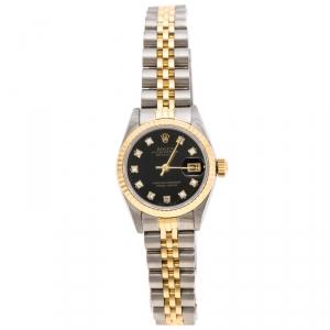Rolex Black 18K Yellow Gold Stainless Steel Diamonds Datejust 69173 Women's Wristwatch 26 mm