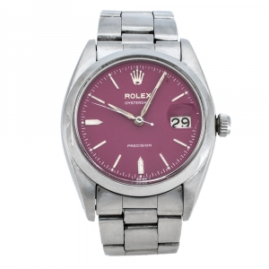 Rolex Pink Stainless Steel Oysterdate Precision 6494 Women's Wristwatch 34 mm