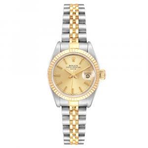ساعة يد نسائية رولكس دتجست 69173 ستانلس ستيل وذهب أصفر عيار 18 بيج فاتحة 26 MM