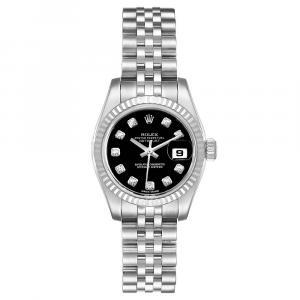 ساعة يد نسائية رولكس ديتجست 179174 ستانلس ستيل وذهب أبيض عيار 18 ألماس سوداء 26 MM