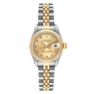 ساعة يد نسائية رولكس ديتجست 69173 ستانلس ستيل وذهب أصفر عيار 18 بيج فاتحة 26 MM