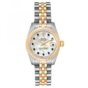 ساعة يد نسائية رولكس ديتجست 179173 ستانلس ستيل وذهب أصفر عيار 18 زفير صدف 26 MM