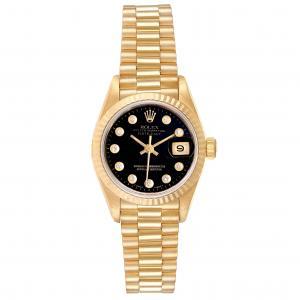 ساعة يد نسائية رولكس بريزدانت ديتجست 69178 ذهب أصفر عيار 18 ألماس سوداء 26 MM