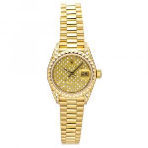 """ساعة يد نسائية رولكس """"دايتجست 69188"""" ستانلس ستيل و ذهب أصفر عيار 18 و ألماس متعدد شامبانيا 26 مم"""