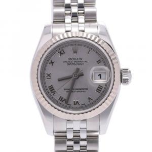 ساعة اليد النسائية رولكس ديتجاست 179174 ستانلس ستيل وذهب أبيض عيار 18 فضية 26 مم