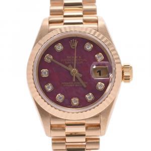 ساعة يد نسائية رولكس ديتجاست 69178جي ذهب أصفر عيار 18 ألماس حمراء ياقوتية 26 مم