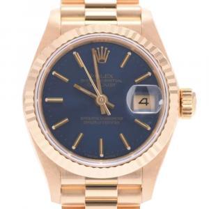 ساعة يد نسائية رولكس ديتجاست 69178 ذهب أصفر عيار 18 زرقاء 26 مم