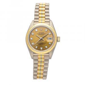 ساعة يد نسائية رولكس ديتجست تريدور 69179 ستانلس ستيل وذهب وردى / أصفر / أبيض عيار 18 ألماس بيج فاتحة 26 MM