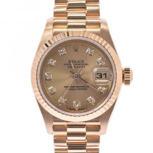 Rolex Champagne Diamonds 18k Yellow Gold Datejust 69178G Women's Wristwatch 25 MM