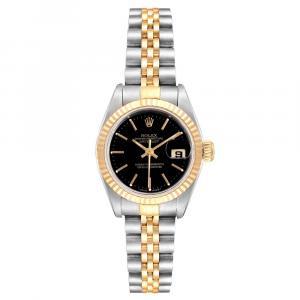 ساعة يد نسائية رولكس ديتجاست 69173 ستانلس ستيل وذهب أصفر عيار 18 سوداء 26 مم