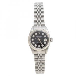 Rolex Black Stainless Steel Datejust Diamond 6916 Women's Wristwatch 26 mm