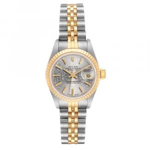 Rolex Gray 18K Yellow Gold And Stainless Steel Datejust 69173 Women's Wristwatch 26 MM