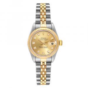Rolex Chmapagne Diamonds 18K Yellow Gold And Stainless Steel Datejust 79173 Women's Wristwatch 26 MM
