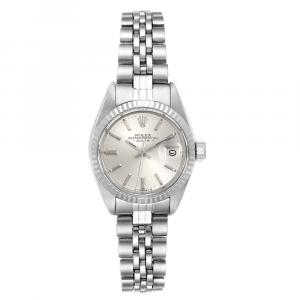 Rolex Silver 18K White Gold And Stainless Steek Datejust 6917 Women's Wristwatch 26 MM