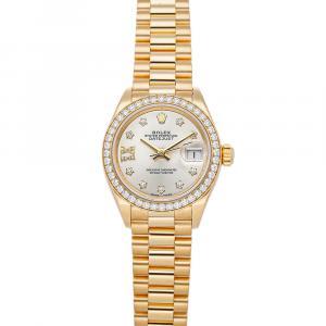 Rolex Silver Diamonds 18K Yellow Gold Datejust 279138RBR Women's Wristwatch 28 MM