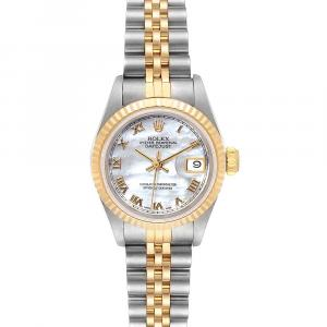 Rolex MOP 18K Yellow Gold And Stainless Steel Datejust 69173 Women's Wristwatch 26 MM