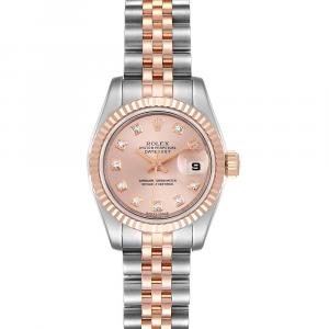 Rolex Salmon Diamonds 18 Rose Gold And Stainless Steel Datejust 179161 Women's Wristwatch 26 MM