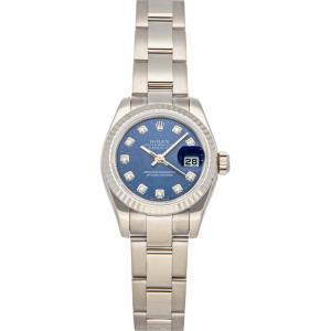 Rolex Blue Diamonds 18K White Gold Datejust 179179 Women's Wristwatch 26 MM