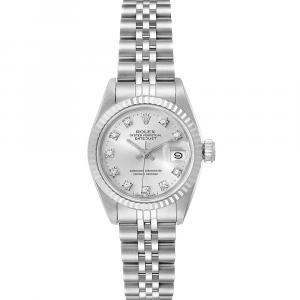 Rolex Silver Diamonds 18K White Gold Datejust 69174 Women's Wristwatch 26 MM