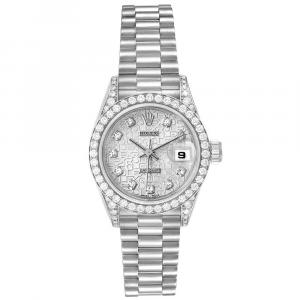 Rolex Silver Diamonds 18K White Gold Oyster Perpetual Datejust 69159 Women's Wristwatch 26 MM