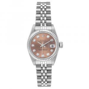 Rolex Salmon Diamonds 18K White Gold And Stainless Steel Datejust 69174 Women's Wristwatch 26 MM
