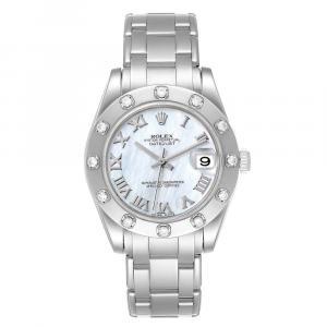 Rolex MOP Diamonds 18K White Gold Pearlmaster 81319 Women's Wristwatch 34 MM