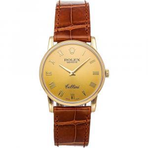 Rolex Champagne 18K Yellow Gold Cellini 5116 Women's Wristwatch 32 MM