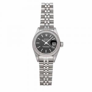 Rolex Black 18k White Gold And Stainless Steel Datejust 69174 Women's Wristwatch 26 MM