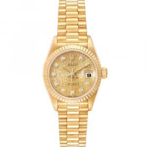 """ساعة يد نسائية رولكس """"بريزيدينت دايتجست 79178"""" ذهب أصفر عيار 18 و ألماس شامبانيا 26 مم"""