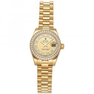 Rolex Champagne Diamonds 18K Yellow Gold Datejust 179138 Women's Wristwatch 26 MM