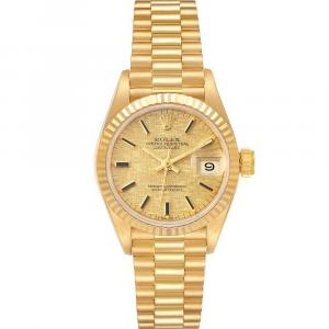 Rolex Champagne 18K YellowGold President Datejust Linen 69178 Women's Wristwatch 26MM