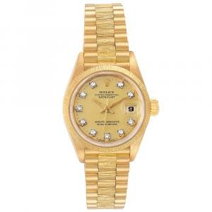 Rolex Champagne 18K Yellow Gold President Diamond Datejust 69278 Women's Wristwatch 26MM