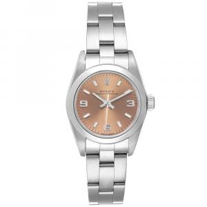 Rolex Salmon Stainless Steel Oyster Perpetual 76080 Women's Wristwatch 24MM