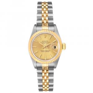 Rolex Champagne Stainless Steel Datejust 18K Yellow Gold 69173 Women's Wristwatch 26MM