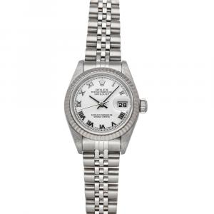 Rolex White 18K White Gold And Stainless Steel Datejust 79174 Women's Wristwatch 26 MM