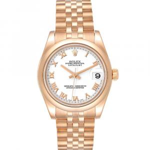 Rolex White 18K Rose Gold President 178245 Women's Wristwatch 31 MM